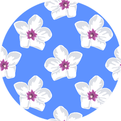 White Plumeria Flowers Repeat Pattern On Blue Sticker