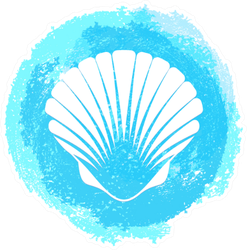 White Sea Shell On Grunge Blue Sticker