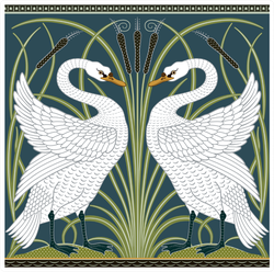 White Swan Decorative Border Pattern Illustration Sticker