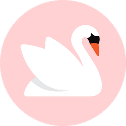 White Swan, Isolated On Pink Background Sticker