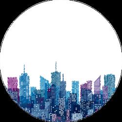 White Windows On Hand Drawn City Skylines Blue Cityscape Sticker