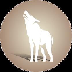 White Wolf Silhouette On Brown Sticker