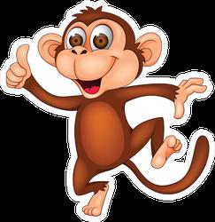 Wide Eyed Dancing Monkey Cartoon Sticker