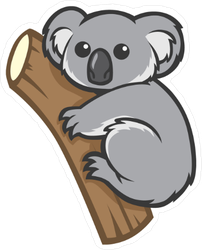 Wide Eyed Koala On A Tree Sticker