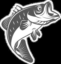 Wide Mouth Bass Fish Sticker