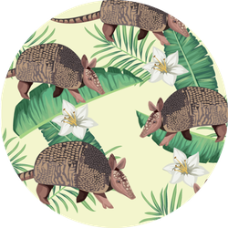 Wild Armadillos With Tropical Foliage Illustration Sticker