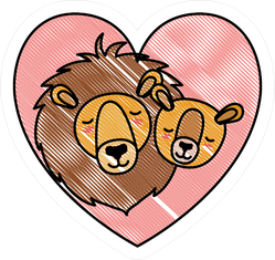 Wild Lion Couple In Heart Sticker