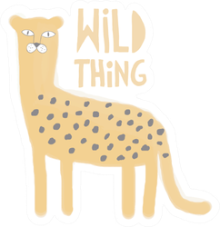 Wild Thing Watercolor Style Cheetah Sticker