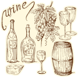 Wine Doodles Sticker