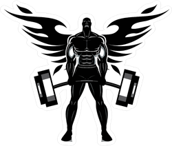 Winged Body Builder Sticker