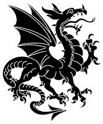 Winged Heraldic Dragon Sticker