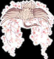 Wingspread Crane Bird With Blossom Sakura Branches Sticker