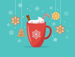 Winter Cocoa Mug And Gingerbread Sticker