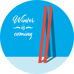 Winter Holiday Ski Sticker