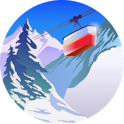 Winter Mountain Landscape For Ski Poster Sticker