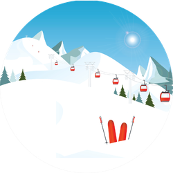Winter Mountain Landscape With Pair Of Skis Sticker