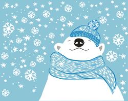 Winter Polar Bear In Snowflakes Sticker