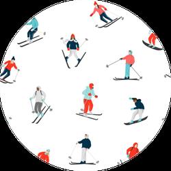 Winter Seamless Pattern Skiers Sticker