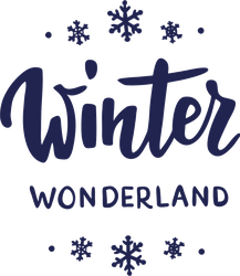 Winter Wonderland Text and Snowflakes Sticker