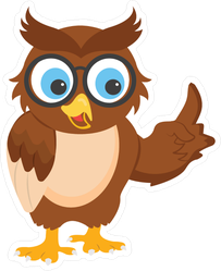 Wise Brown Owl Pointing Sticker