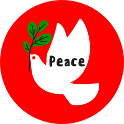 Wishes Of Peace And White Dove Holding Green Branch Sticker