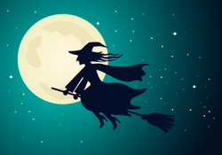 Witch Flying in Night Sky Sticker