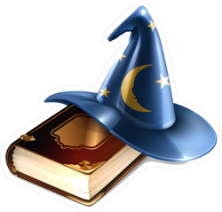 Wizard Hat And Old Book Sticker