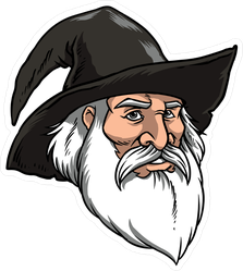 Wizard With A Black Hat Sticker