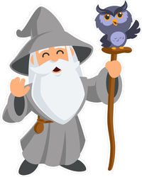 Wizard With Owl Sticker