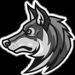 Wolf Head Profile Mascot Sticker