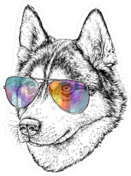 Wolf in Aviator Sunglasses Sticker