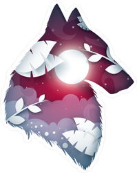 Wolf Origami Sticker