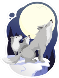 Wolves Howling To Full Moon Sticker