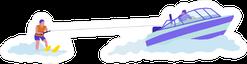 Woman Doing Water-skiing Flat Illustration Sticker