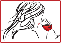 Woman Drinking Red Wine Sticker