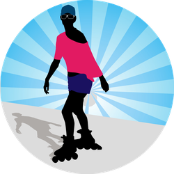 Woman Exercising On Her Rollerblades Sticker