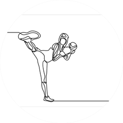 Woman Fitness Kick Boxing-continuous Line Drawing Sticker