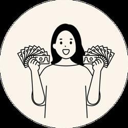 Woman Holding Money Sticker
