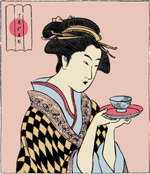 Woman In A Kimono Holding A Teacup Sticker
