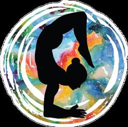 Woman in Scorpion Yoga Pose Sticker