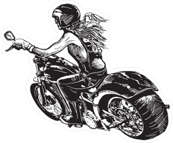 Woman on Motorcycle Illustration Sticker