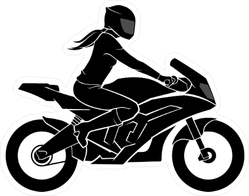 Woman on Motorcycle Silhouette Sticker