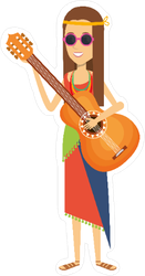 Woman Playing Guitar Character Hippie Lifestyle Sticker