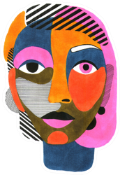 Woman Portrait In Modern Colorful Abstract Style Sticker