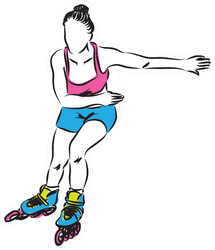 Woman Rollerblade Skater Illustration Sticker