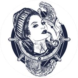 Woman Sailor Tattoo Pirate Sticker