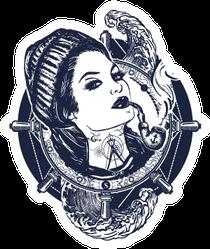 Woman Sailor Tattoo Pirate Sticker
