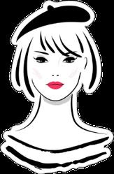 Woman Wearing French Hat Sticker