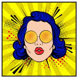 Woman With Bitcoin Eyes Sticker