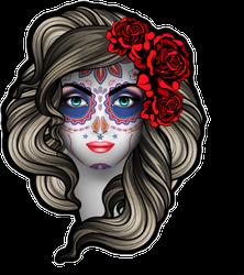 Woman With Calavera Makeup Sticker